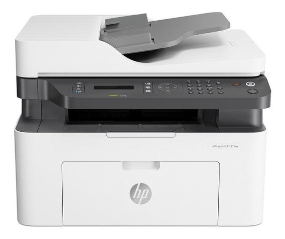 Impressora multifuncional HP LaserJet 137FNW com Wi-Fi 110V/240V branca e preta