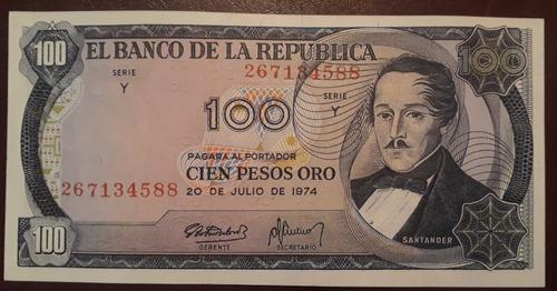 Imagen 1 de 3 de Colombia Billete De 100 Pesos Oro Año 1974