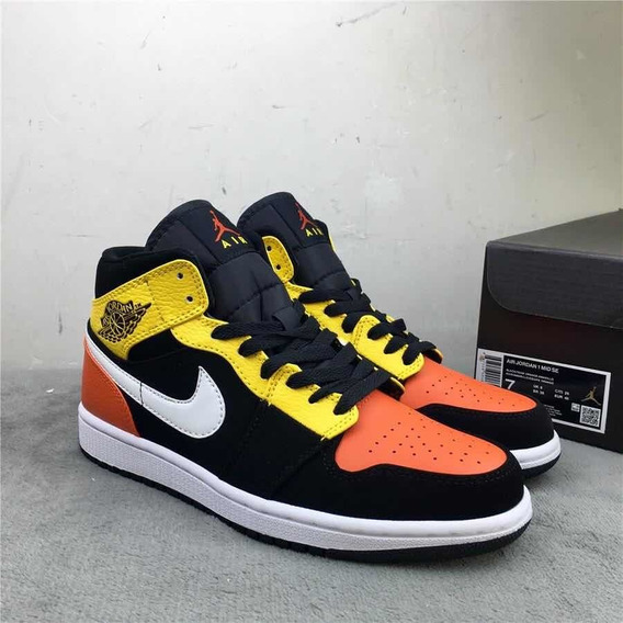 Air Jordan 1 Mid Black Yellow Orange