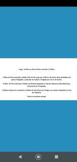 Juego Lustrado De Mesa Y Sillas Tapizadas De Pino.