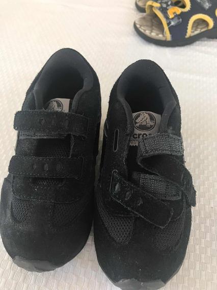 Zapatillas Crocs Niño Originales Talle 23 Negras Con Abrojo