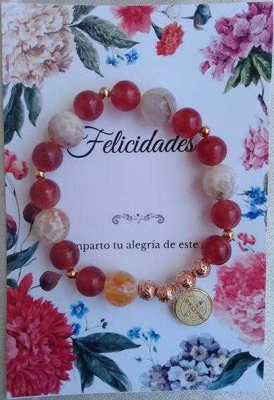 Pulsera Cuarzo, Ágata Beige Y Cherry, Arte Original Mexicano