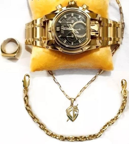Kit Relógio De Pulso Luxo+cordão+pulseira+dedeira(promoção)