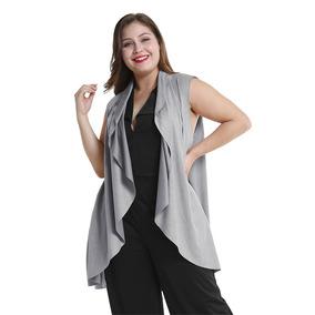 De Las Mujeres Largo Gamuza Vest Casual Sólido Sin Mangas R
