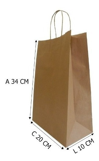 100 Sacolas De Papel Kraft C20xl10xa34 Cm P°0 - Embalagens