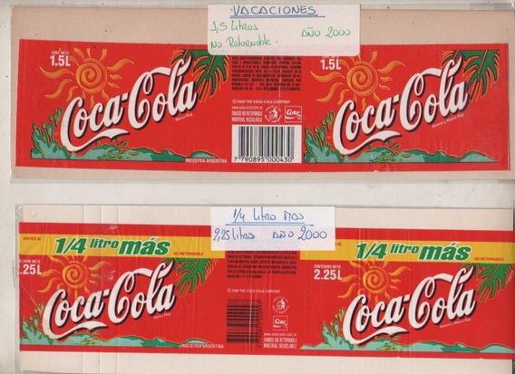 2 Etiquetas * Coca Cola * Promo Vacaciones Verano - Año 2000