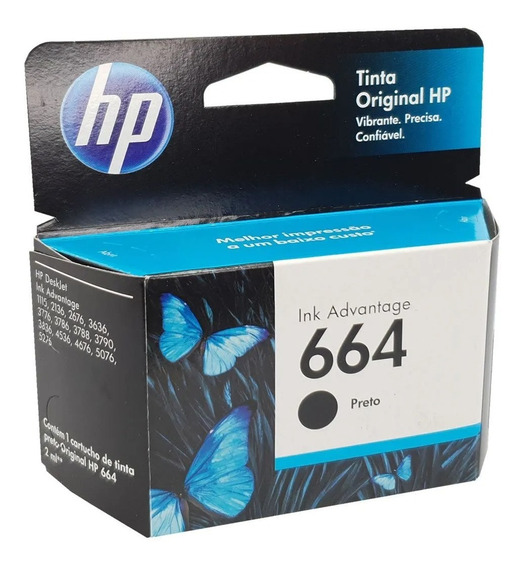 Cartucho Hp 664 Preto Original - 2136 2676 3776 5076 5276