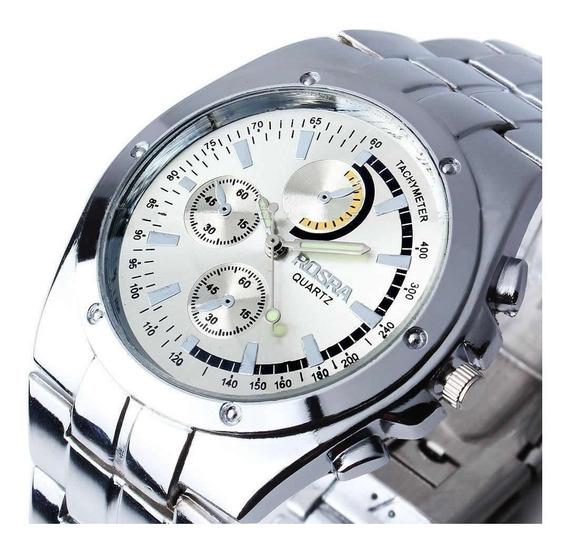 Relógio Rosra Novo Clássico Quartzo Aço Inox Estilo Social