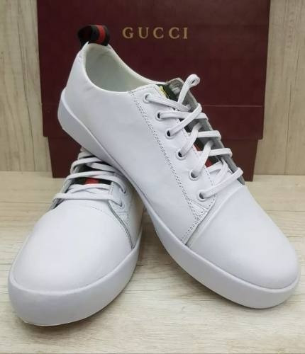 Tenis Gucci Branco Masculino Couro Sapatenis Casual Original