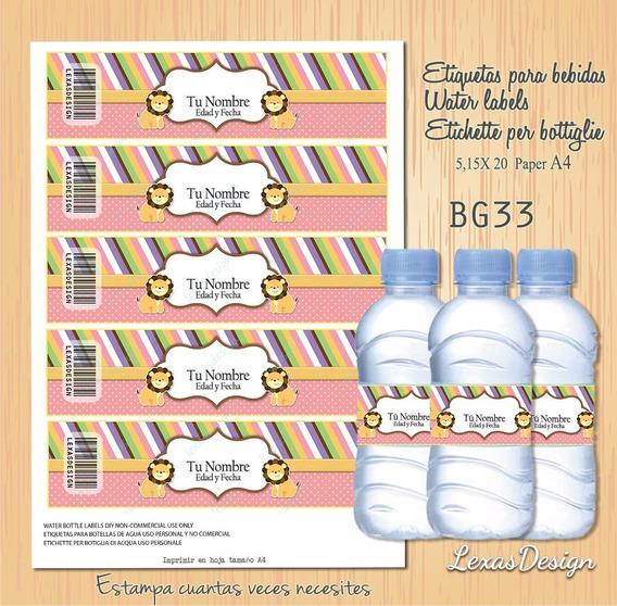 Etiquetas Botellas Bebidas Zoo Candy Bar, Pdf Bg33