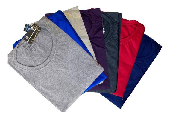 Kit 5 Camisa Masculina Gola Careca Básica Plus Size G1 G2 G3