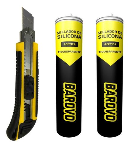 Imagen 1 de 7 de Cutter Premium 18 Mm Barovo + 2 Pomos De Silicona Acetica