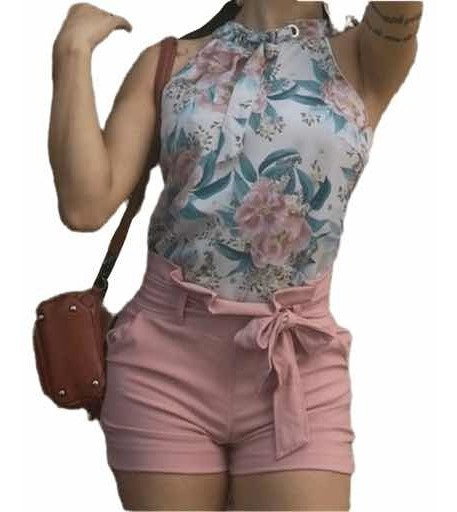 Shorts Feminino Curto De Amarrar Laço Cintura Alta Bengaline