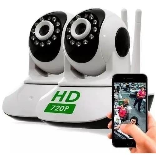 Kit 2 Câmera Ptz Ip 1.3mp 720p Hd Wireless Wifi Áudio Sd P2p