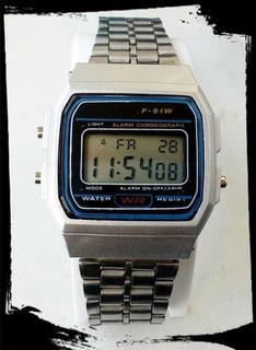 Reloj Metalico Plateado Digital Hombre Retro Vintage