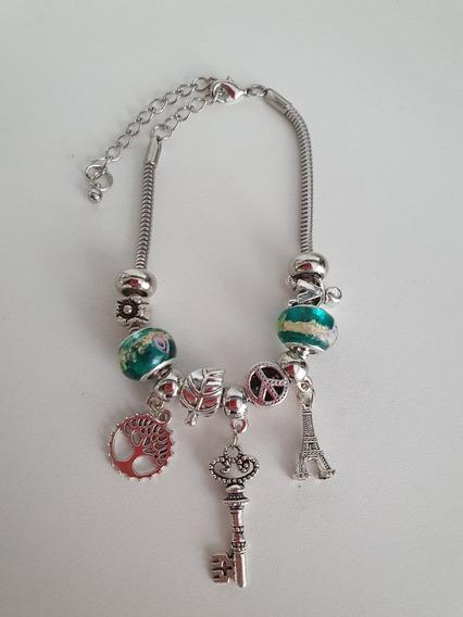 Pulseira Inspirada Pandora Femina Berloques Moda Elegante