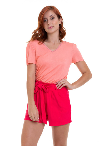 Shorts Malha Canelada Com Faixa Pink Kinara