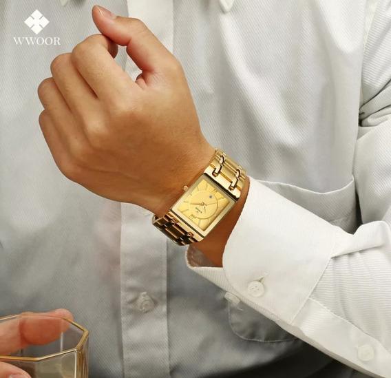 Relógio Dourado Wwor Quadrado Masculino Feminino Frente Grat