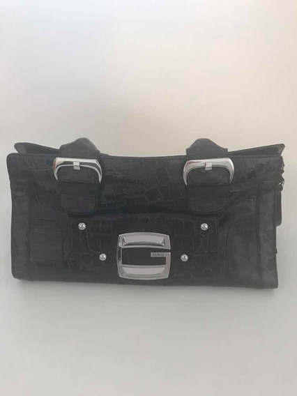 Cartera Guess Simil Croco Negro Impecable