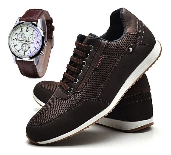 Relógio Original + Sapatênis Tênis Couro Marrom Masculino