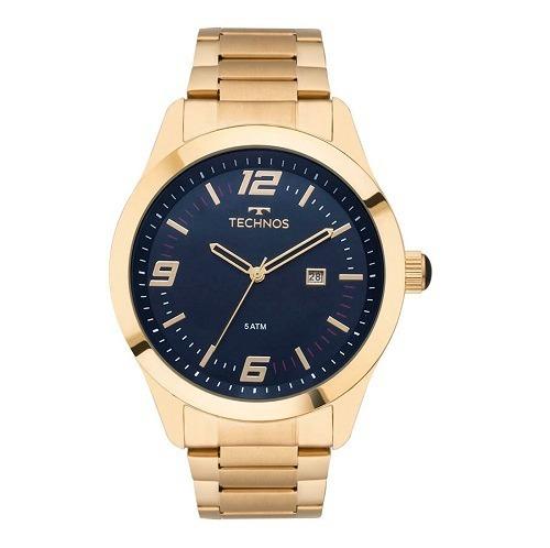 Relógio Technos Masculino Dourado Azul Analógico 2115mnz/4a