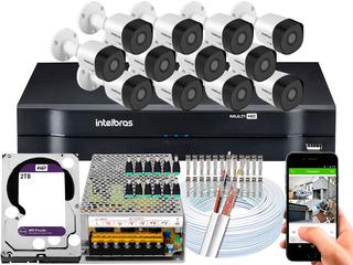 Kit Cftv 12 Câmeras 30m 1080p Intelbras Mhdx 16 Ch 2t Purple