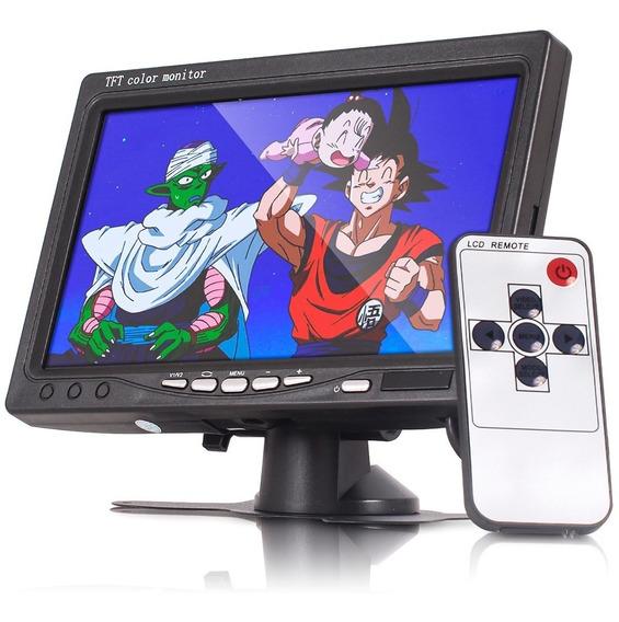 Tela Lcd 7 Polegadas Veicular Para Câmera Ré Dvd Automotivo