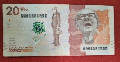Imagen 1 de 2 de Billete Colombiano De 20.000 Pesos Anulado