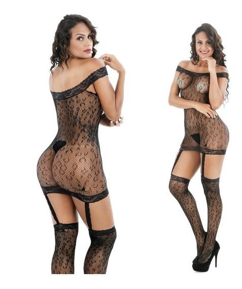 Erotico Bodystocking Unitalla Leopardo Con Ligueros Lenceria