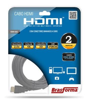 Cabo Hdmi 2m Brasforma Banhado A Ouro De Alta Definição 2.0 4k Ultra Hd Modelo Hdmi5002
