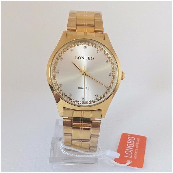 Relógio Feminino Longbo Dourado Quartz Original Luxo Vip