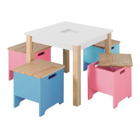 Mini Móvel Infantil Mesa Com Banquinhos Branco Siena Ic