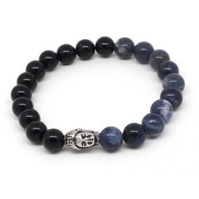 Pulseiras Masculinas Ágata Negra E Azul De Pedras Naturais