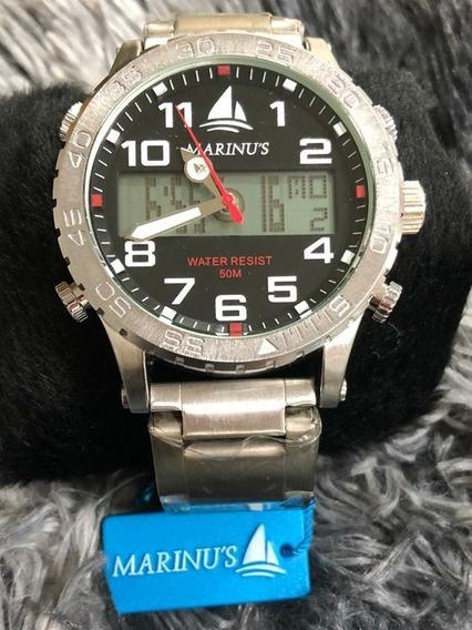 Relógio Marinus Duplo Marcador Prata 5atm