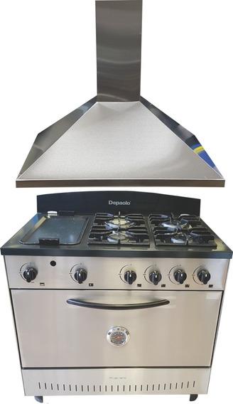 Combo Cocina 4 + Plancha Depaolo Y Campana 90 Cm Oferta !!