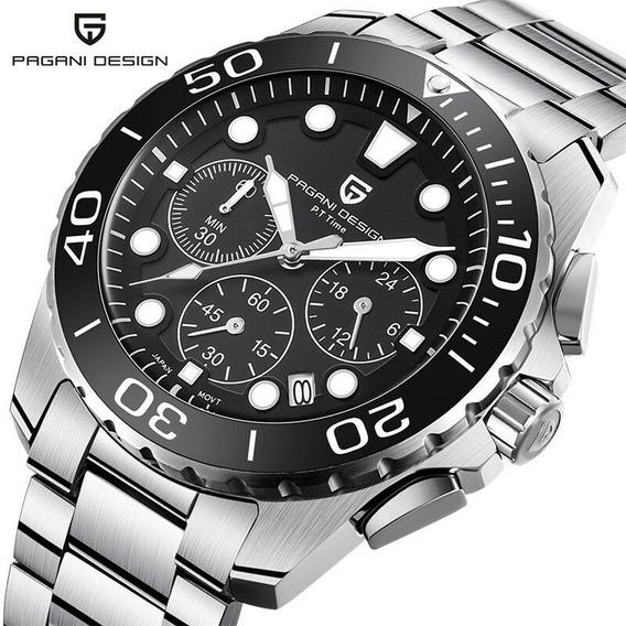 Relógio Pulseira De Aço Cronógrafo Pagani Design 2773