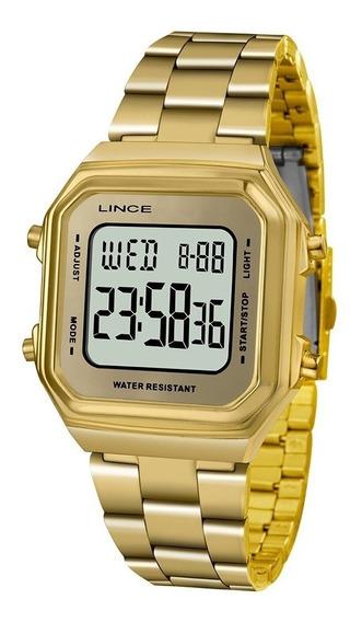Relogio Dourado Lince Quadrado Digital Sdg616l Original
