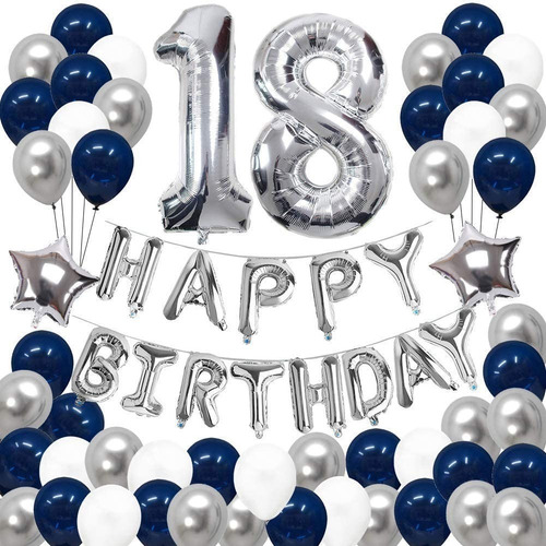 Combo Globos Feliz Cumple Happy Birthday  Plata Azul 2