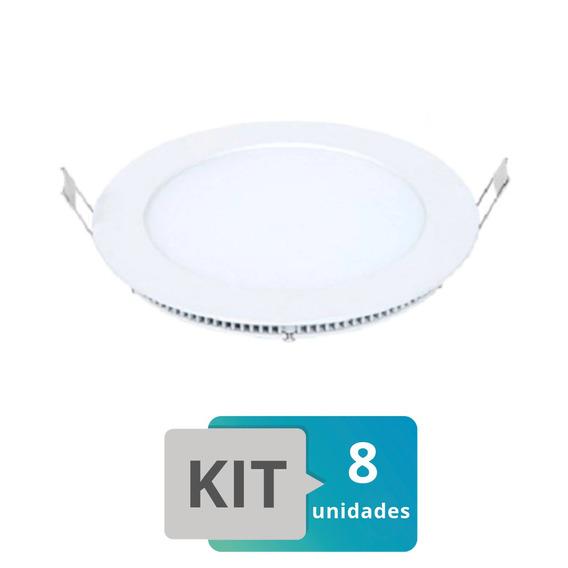 Kit 8 Painel Plafon Led Embutir Slim Redondo 24w Branco Quente