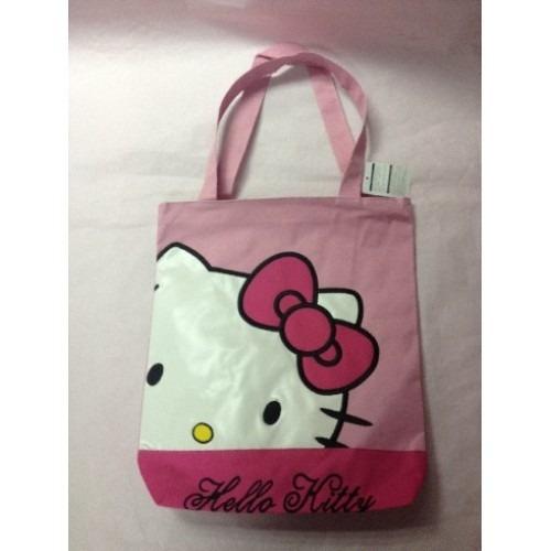 Bolso Cartera Grande Tela Escolar Hello Kitty