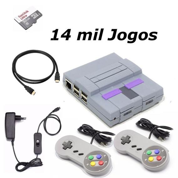 Game Retro 14 Mil Jogos 32gb Com 2 Controles Super Nintendo