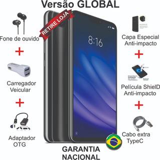 Xiaomi Mi8 Lite 4/64gb 2capa/pelic/otg/fone/led/2cabo/carro