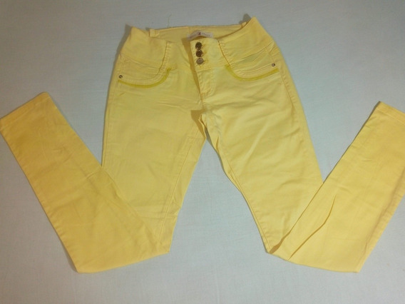 Calça Jeans Feminina Amarela Skinny Tamanho 40