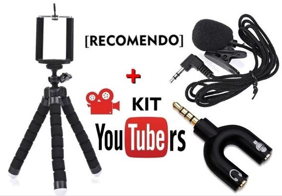 Kit Tripé Flexível Microfone Lapela Youtubers Ad P3