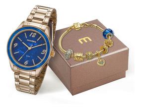 Relógio Feminino Mondaine Dourado Luxo + Pulseira 99277lpmkd