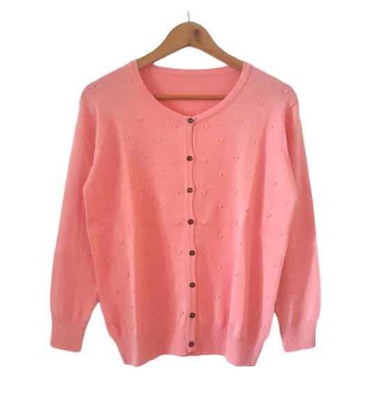 Saco De Hilo Y Lycra Saquito Sweater Escote Redondo