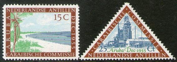 Antillas Holandesas 2 Sellos Nuevos Playa Y Petróleo 1955
