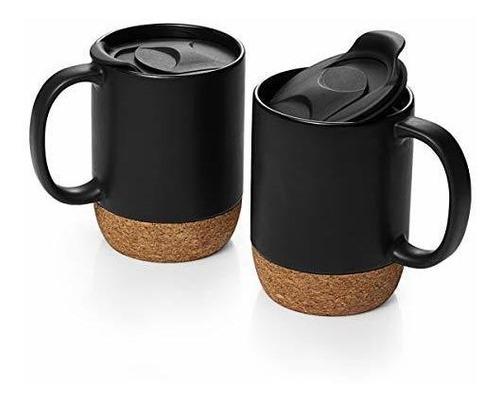 Dowan - Juego De 2 Tazas De Café Con Tapa Aislada De Corcho