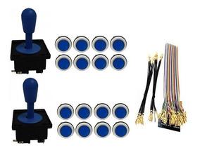 Kit Comandos 2 Peças 16 Botões Corpo Branco Gpio Azul