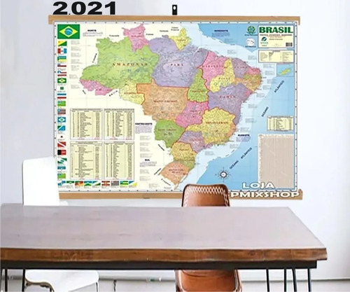 Mapa Brasil Moldura Banner Laminado Gigante 120x90cm - Atual